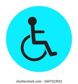 Wheelchair handicap icon symbol design in circle flat blue bright. Vector disabled handicap icon design. Vector illustration.