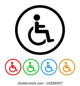 Wheelchair Handicap Icon in Vector Format with Four Color Variations