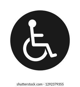 Wheelchair handicap icon vector illustration design isolated on flat black round button