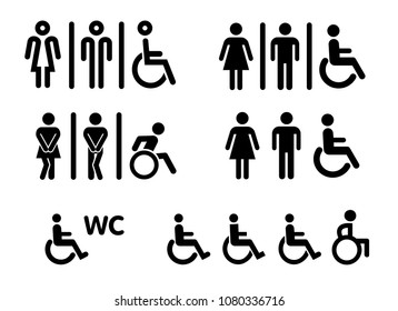 Wheelchair handicap people men man lady woman women boygirl young toilet day wc icon bathroom medical health hospital walking icon pictogram symbol sign haste hurry human funny its mobile help helping