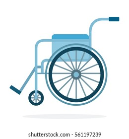 Wheelchair in the hospital vector flat material design object. Isolated illustration on white background.