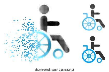 Wheelchair icon in fragmented, dotted halftone and entire variants. Particles are organized into vector disappearing wheelchair icon. Disappearing effect uses rectangular dots.