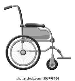 Wheelchair icon. Gray monochrome illustration of wheelchair vector icon for web