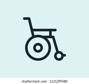 Wheelchair icon line isolated on clean background. Wheelchair icon concept drawing icon line in modern style. Vector illustration for your web mobile logo app UI design.