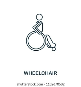 Wheelchair icon. Outline style icon design. UI. Illustration of wheelchair icon. Pictogram isolated on white. Ready to use in web design, apps, software, print and background.