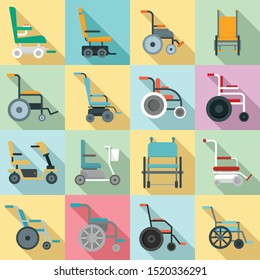 Wheelchair icons set. Flat set of wheelchair vector icons for web design
