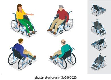 Wheelchair isolated. Man and Woman in Wheelchair. Flat 3d isometric vector illustration.