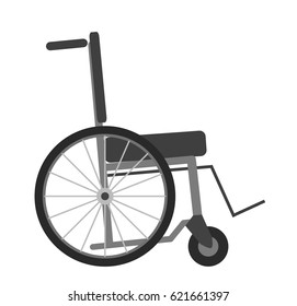 Wheelchair isolated on white background vector illustration. Transportation chair