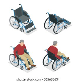 Wheelchair isometric icon. Disabled man in wheelchair isolated on white background