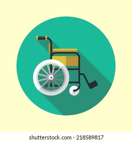 Wheelchair long shadow flat design medical icon. Vector illustration.