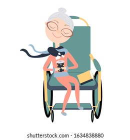 Wheelchair for people with disabilities.  Grandma in a wheelchair. Disabled carriage.  Aged people.  Isolate.  Stock illustration.  White background.  Flat.  Hand of the drow.  Cartoon.