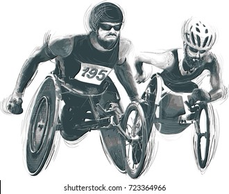 WHEELCHAIR RACING.- Athletes with physical disabilities. An hand drawn vector. Note - Any accurate photo original for this picture, original is created by me.