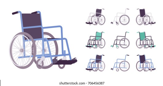 Wheelchair set. Transport chair in case of illness, injury, or disability, medical support equipment. Vector flat style cartoon illustration, isolated, white background. Different positions