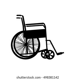 Wheelchair silhouette isolated on white, vector illustration