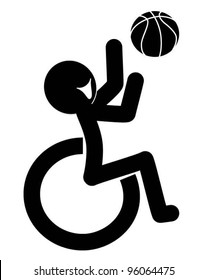 wheelchair symbol playing basketball