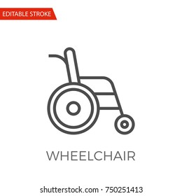 Wheelchair Thin Line Vector Icon. Flat Icon Isolated on the White Background. Editable Stroke EPS file. Vector illustration.