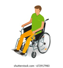 Wheelchair user, disabled, handicapped people icon or symbol. Cartoon, vector illustration flat style