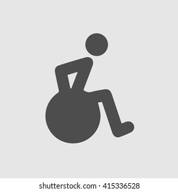 Wheelchair vector icon. Disabled handicap pictogram isolated on grey background. Simple symbol sign.