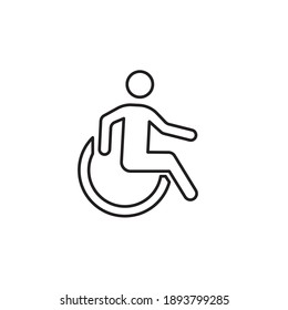 wheelchair Vector icon outline style. People sign illustration. isolated on white background