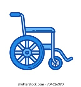 Wheelchair vector line icon isolated on white background. Wheelchair line icon for infographic, website or app. Blue icon designed on a grid system.