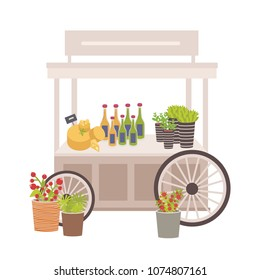 Wheeled cart, marketplace or counter with cheese, bottles and price tags. Place for selling food products on local farmers' market decorated with potted plants. Flat colorful vector illustration.