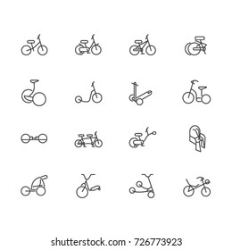 Wheeled vehicles as line icons. Classic and electrical devices and accessories for riding on wheels