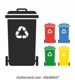 Wheelie bin icon set