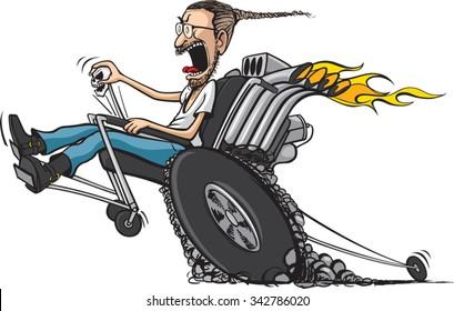 Wheelie Chair A cartoon disabled man in hot-rod wheel chair. Vector file available.