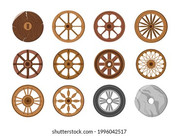 Wheels Evolution from Old Primitive Stone Ring and Ancient Wooden to Modern Transport Wheel. Transportation History Invention Isolated on White Background. Cartoon Vector Illustration, Icons Set