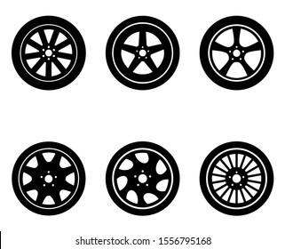 Wheels icon, logo isolated on white background