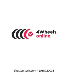 Wheels logotype for service station. Name for example and free to use