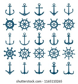 Wheels ship anchors icon. Steering wheels boat and ship anchors marine and navy symbols. Vector silhouettes for logo designs or tattoo. Anchor and wheel for ship or boat, navy travel illustration