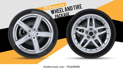 Wheels and tires package. Realistic vector.