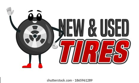 Wheels and tyre fitting service ad. Tire character image.  Transportation, tire repair, used tires horizontal banner. Editable vector illustration in flat cartoon style isolated on white background