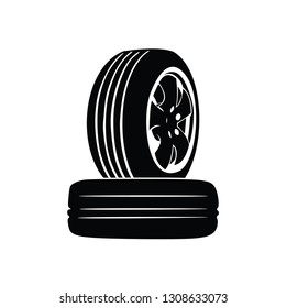 whell tire car in black vector