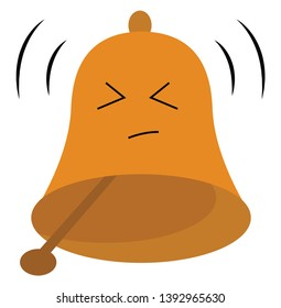 When the clapper is struck the brown bell expresses sadness  vector  color drawing or illustration