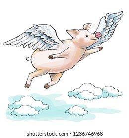 When pigs fly. A fat piglet is flying among cumulus clouds. He has wings. Hand-drawn illustration. Cartoon. Watercolor style