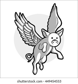 When Pigs Fly Vector Illustration