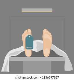 When surgery goes wrong. A patient lying on a table in a mortuary or morgue, mortuary theme. Vector illustration of a dead person.