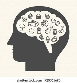 when your mind is hungry. Healthy food and lifestyle concept, Obesity concept, Vector illustration icons set.