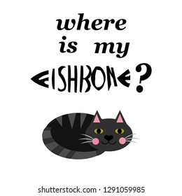 where is my fishbone vector illustration for t-shirt print and other uses. Can be used for design of cards