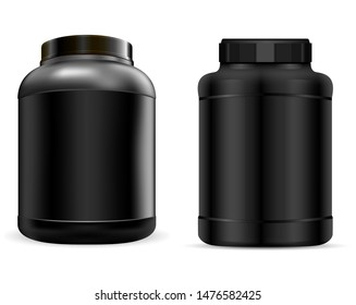 Whey Protein Container. Black Protein Jar. Vector Supplement Can. 3d Plastic Tub for Powder during Workout. Muscle Bcaa Gainer. Sport Nutrition Product Packaging. Bodybuilding Nutrient Canister