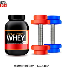 Whey protein isolate in black jar with  dumbells. Vector illustration
