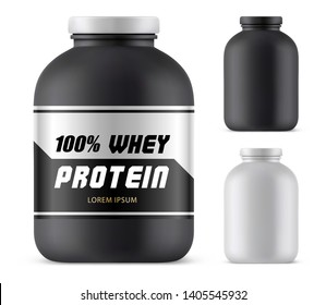 Whey protein plastic container mockup. Blank jar for sport nutrition, lid template for weight gain or bodybuilding, fitness supplement, bottle mockup for athletic or sportsman diet. Sport and training