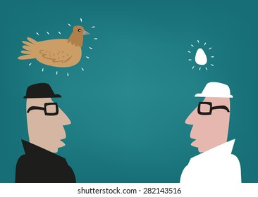 Which Comes First? Chicken or the Egg Dilemma concept. Clip art Illustration.