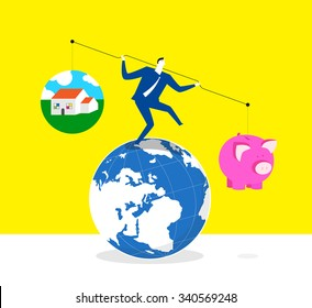 Which one is more important-A businessman is trying to keep balance and stand on a earth, he lifts up lever,one side is a piggy bank and the other is a house.