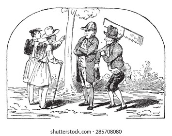 Which, sir, to take?, vintage engraved illustration.