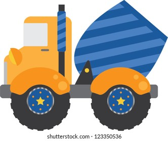 Whimsical blue cement truck with blue stripes and yellow stars on the wheels.
