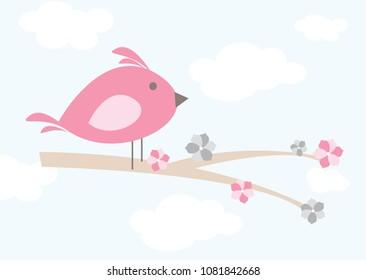 Whimsical cartoon bird on a branch with sky backdrop