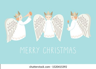 Whimsical Christmas Holiday Scandinavian Style Angels and Merry Christmas Words on Aqua Background Vector Card. Minimal Nordic Festive Advent Backdrop. Cute Hand-Drawn Typography Illustration